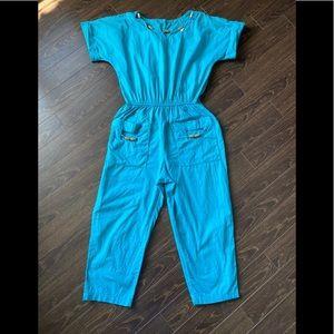 Vintage 80s Turquoise Romper